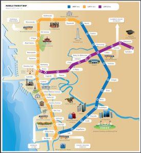 国際結婚希望のフィリピン女性と乗るフィリピンの電車の路線図