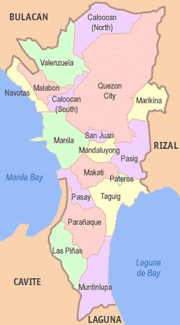 メトロマニラの地図-16市(City)と、1町(Municipality)